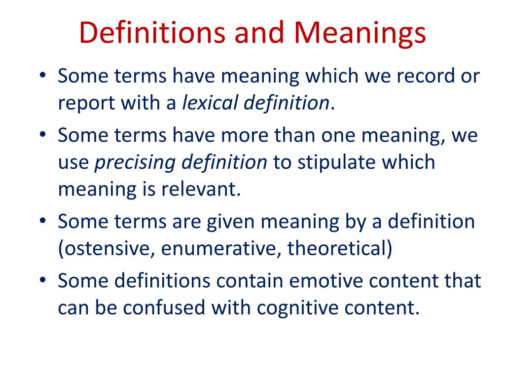 Definitions and Meanings