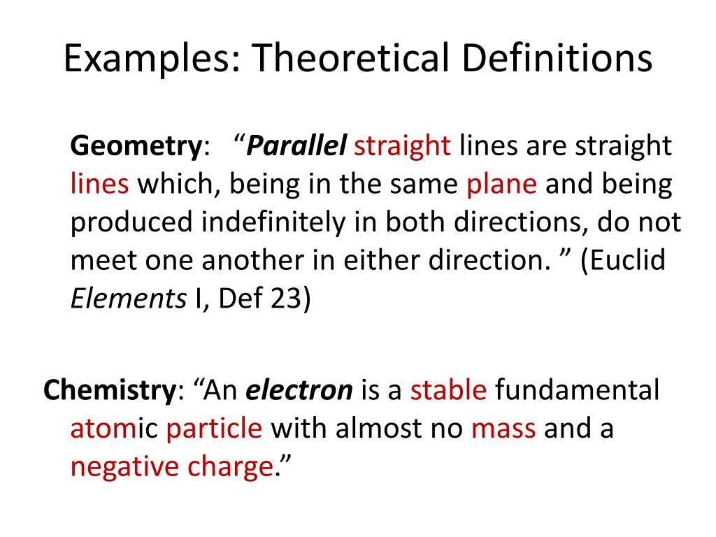 Examples: Theoretical Definitions