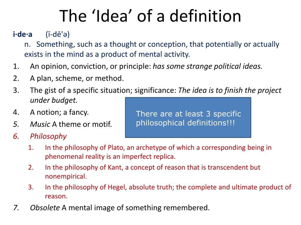 The 'Idea' of a definition