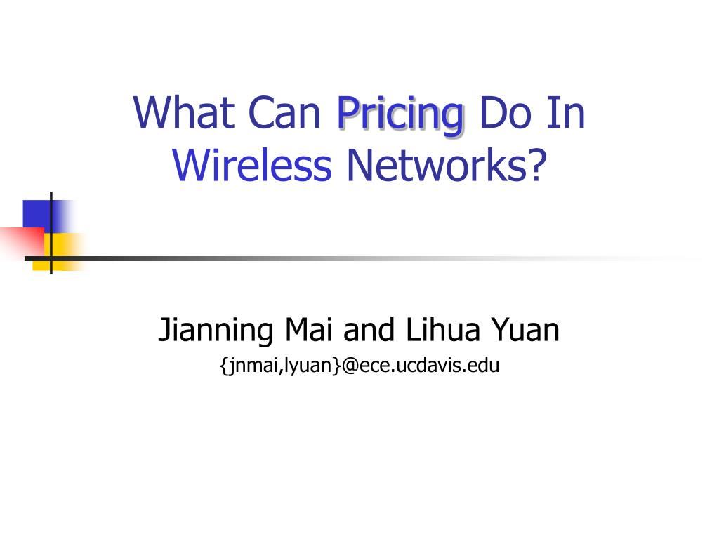 what can pricing do in wireless networks l.