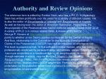 authority and review opinions