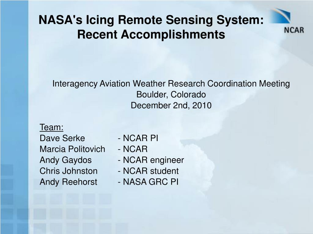 nasa s icing remote sensing system recent accomplishments l.