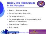 basic mental health needs in the workplace