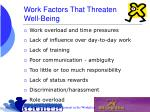 work factors that threaten well being