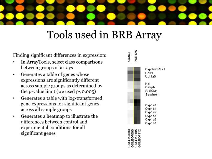 Tools used in BRB Array