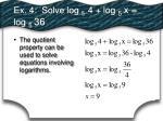 ex 4 solve log 5 4 log 5 x log 5 36
