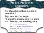 product property of logarithms