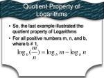 quotient property of logarithms