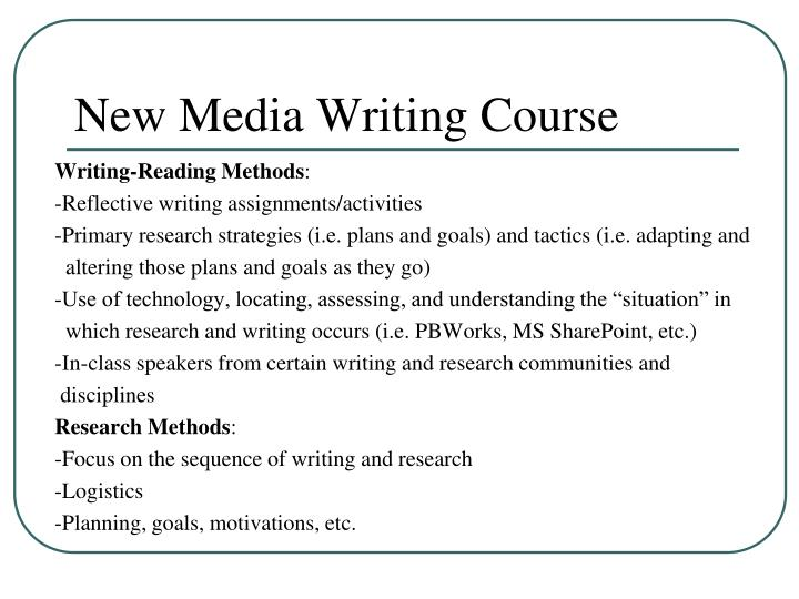 New Media Writing Course