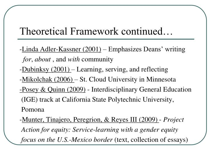 Theoretical Framework continued…