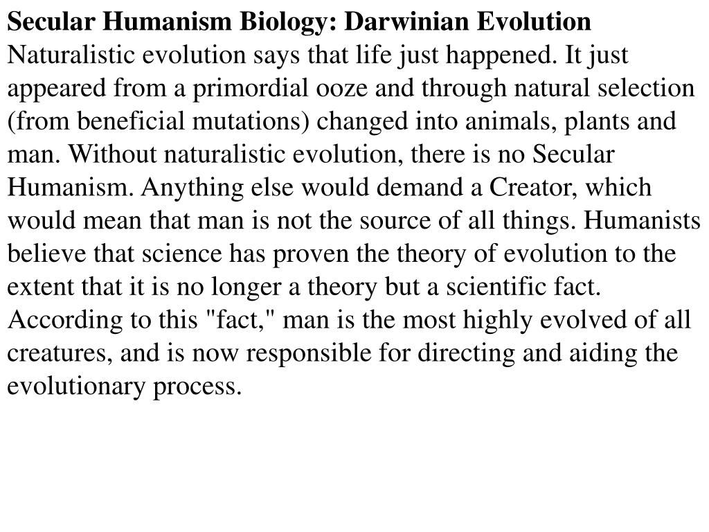 Secular Humanism Biology: Darwinian Evolution