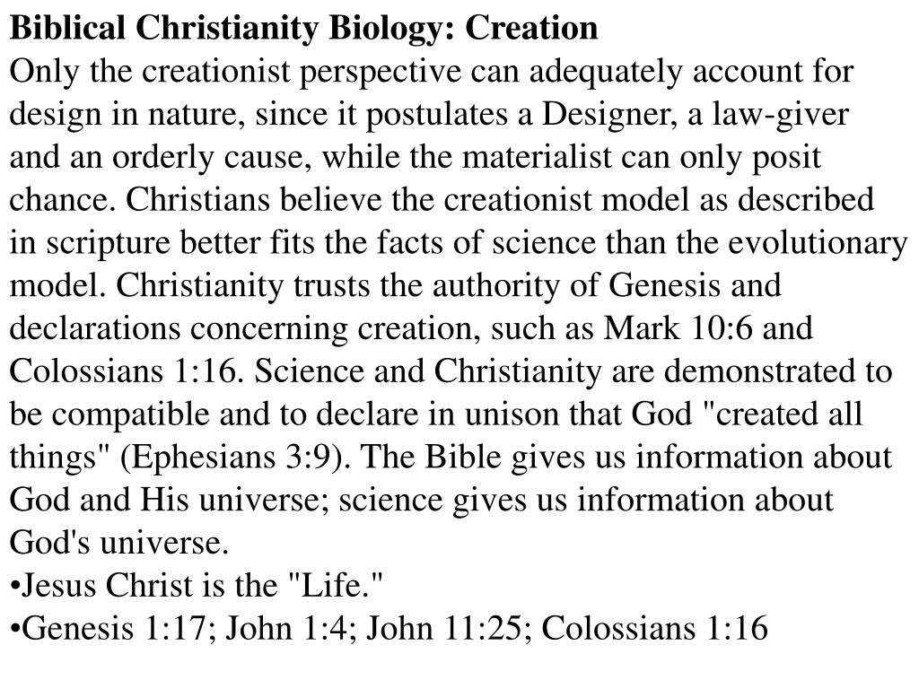 Biblical Christianity Biology: Creation
