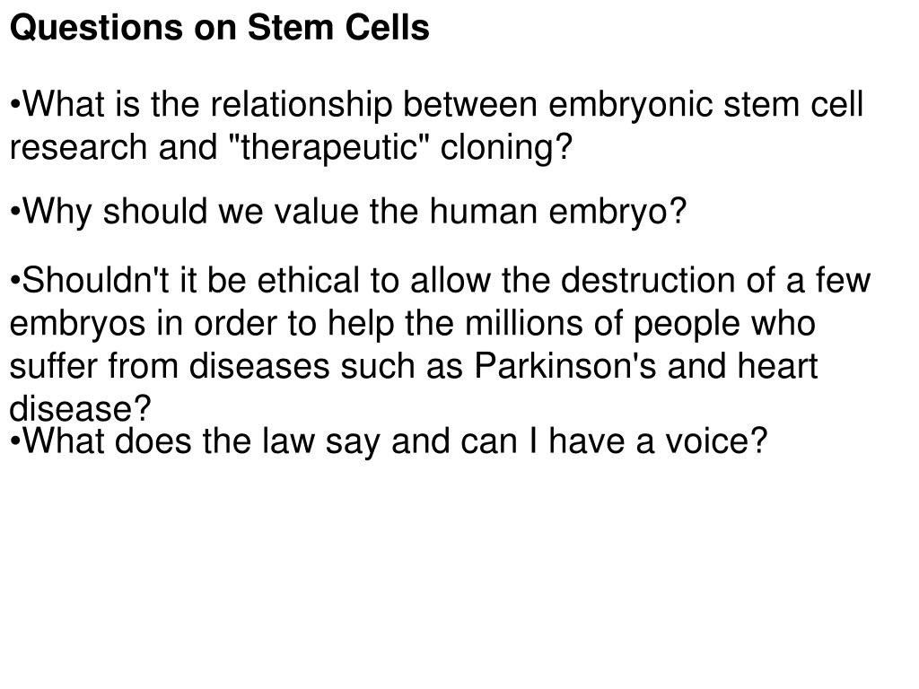 Questions on Stem Cells