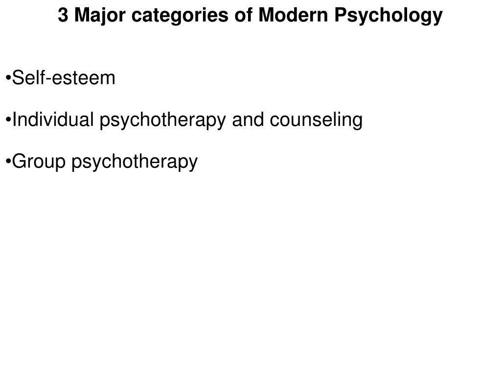 3 Major categories of Modern Psychology