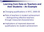 learning from data on teachers and their students an example