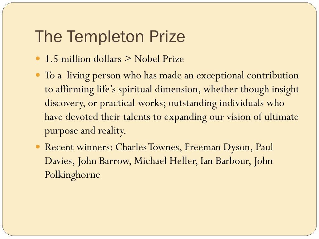 The Templeton Prize
