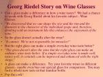 georg riedel story on wine glasses