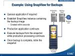 example using snapview for backups