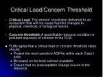 critical load concern threshold