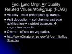 f ed l and mngr a ir quality related values work g roup flag