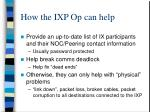 how the ixp op can help