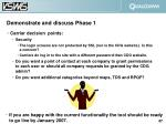 demonstrate and discuss phase 1