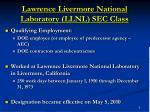 lawrence livermore national laboratory llnl sec class