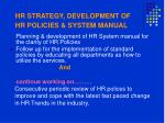 hr strategy development of hr policies system manual