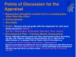 points of discussion for the appraisal