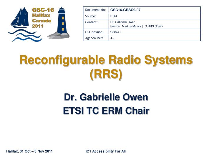 reconfigurable radio systems rrs n.