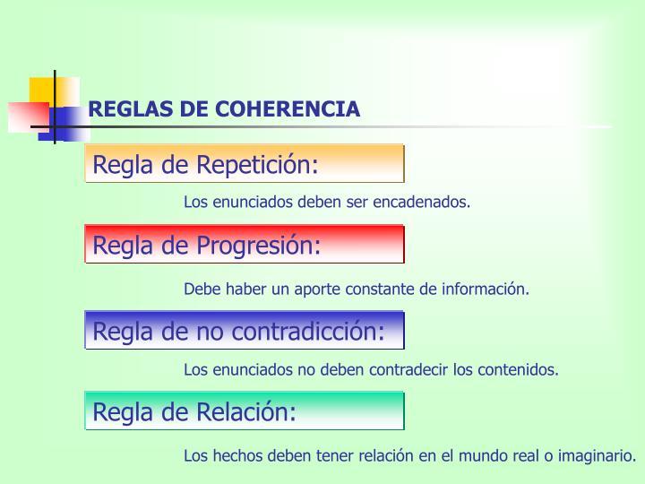REGLAS DE COHERENCIA