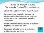 steps to improve course placements for mnscu institutions