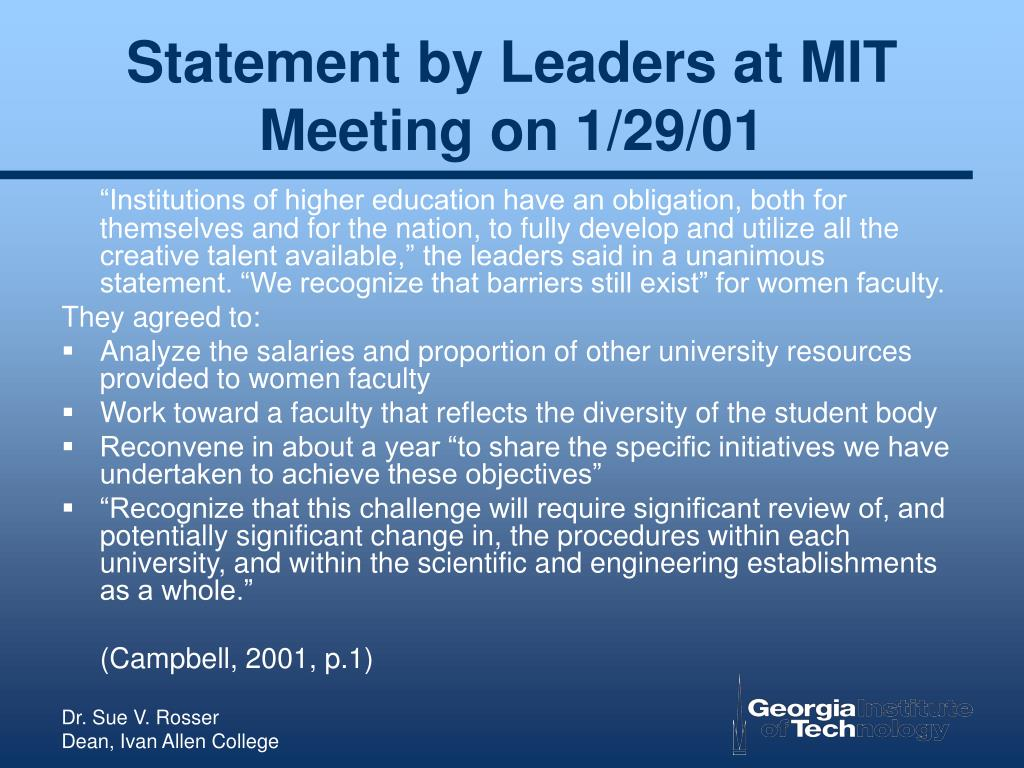 Statement by Leaders at MIT Meeting on 1/29/01