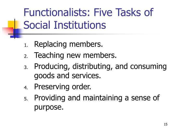 what are the five functions of social institutions