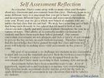 self assessment reflection