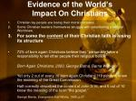 evidence of the world s impact on christians12