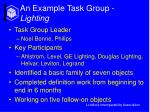 an example task group lighting