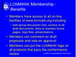 l on m ark membership benefits