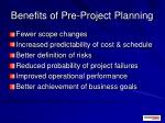 benefits of pre project planning