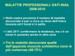malattie professionali dati inail 2008 2010