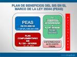 plan de beneficios del sis en el marco de la ley 29344 peas