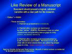 like review of a manuscript