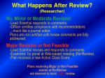what happens after review researcher