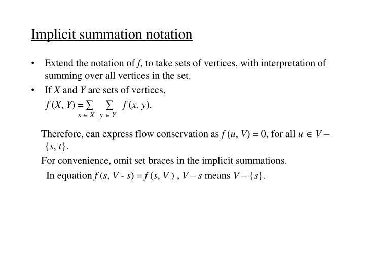 Implicit summation notation
