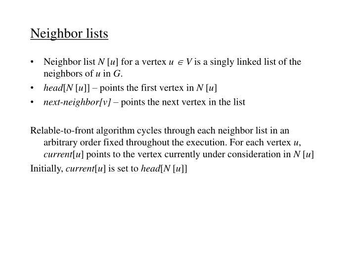 Neighbor lists