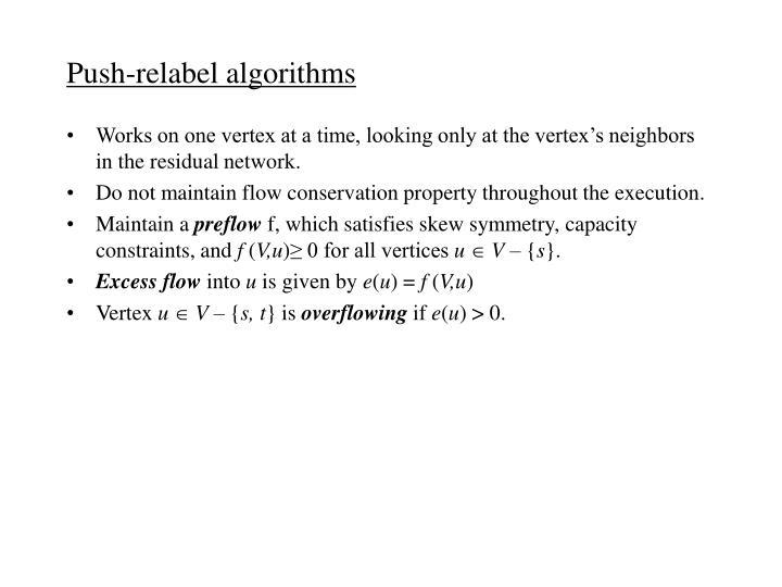 Push-relabel algorithms