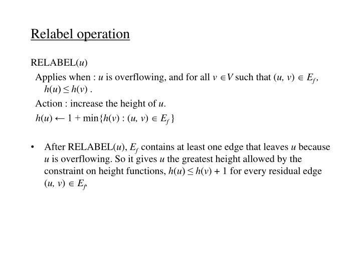 Relabel operation