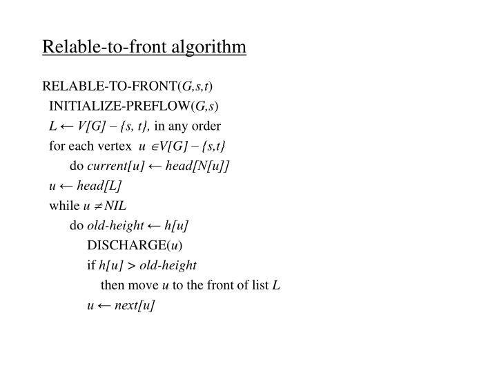 Relable-to-front algorithm