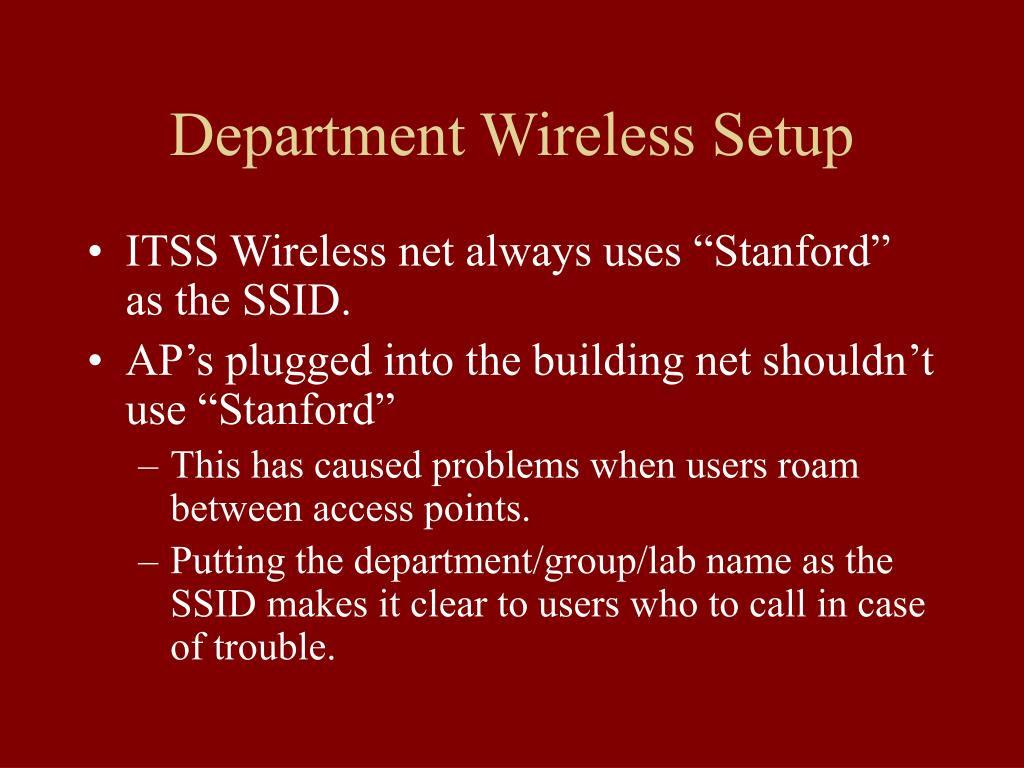 Department Wireless Setup