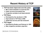 recent history of tcp